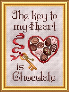 click here to view larger image of Key to my heart is chocolate-Sue Hillis (chart)