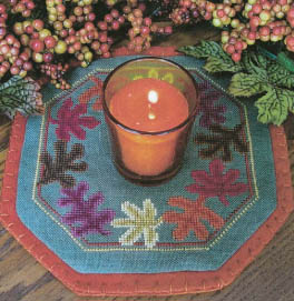 click here to view larger image of Little Candle Mats - Leaves (chart)