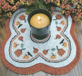 click here to view larger image of Little Candle Mats - Pumpkins (chart)