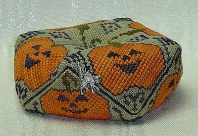 click here to view larger image of Jack-O-Lantern Biscornu    w/charm (chart with charms/buttons)