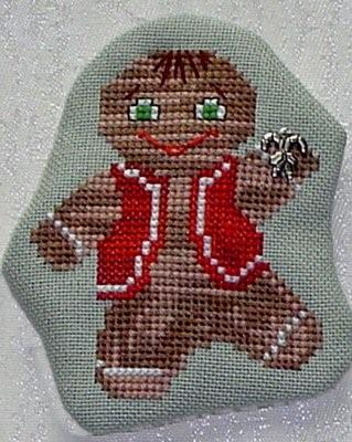 click here to view larger image of Dancing Gingerbread Man  (w/charm) (chart with charms/buttons)