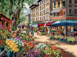 click here to view larger image of Paris Market   (counted cross stitch kit)