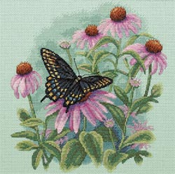 click here to view larger image of Butterfly & Daisies   (counted cross stitch kit)