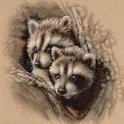 click here to view larger image of Two Raccoon Cubs    (counted cross stitch kit)