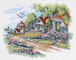 click here to view larger image of Cottages By The Sea (stamped cross stitch kit)