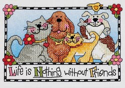click here to view larger image of Life Is Nothing Without Friends   (stamped cross stitch kit)