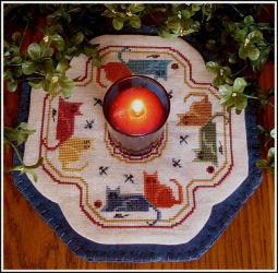 click here to view larger image of Little Candle Mats - Colorful Cats (chart)