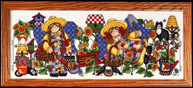 click here to view larger image of Gardening Angels (counted cross stitch kit)