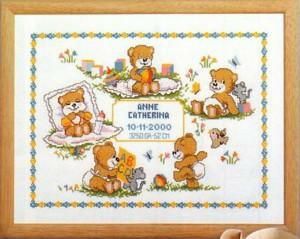 click here to view larger image of Bear Birth Notice (counted cross stitch kit)