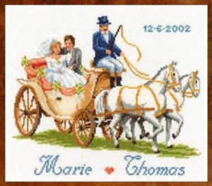 click here to view larger image of Bride and Groom in Coach (counted cross stitch kit)