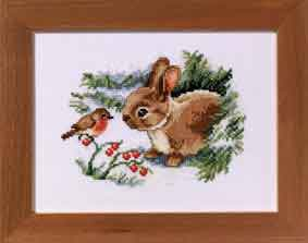 click here to view larger image of Christmas Rabbit (counted cross stitch kit)