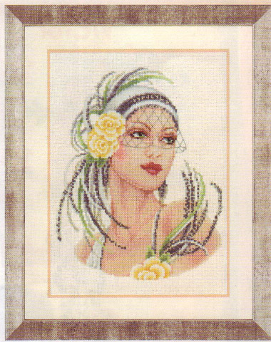 click here to view larger image of Yellow Rose Flapper Lady (linen) (counted cross stitch kit)