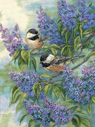 click here to view larger image of Chickadees & Lilacs  (counted cross stitch kit)