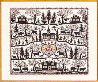 click here to view larger image of Country Farm Sampler/Silhouette Collage (counted cross stitch kit)