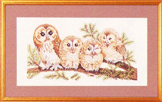 click here to view larger image of Four Charming Owls (counted cross stitch kit)