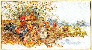 click here to view larger image of Chickens In A Field (counted cross stitch kit)
