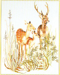 click here to view larger image of Deer With Fawn (counted cross stitch kit)