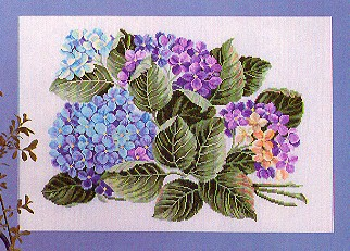 click here to view larger image of Hydrangeas (25ct) (counted cross stitch kit)