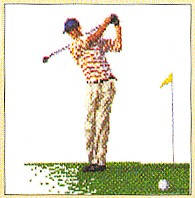 click here to view larger image of Golfer - Linen (counted cross stitch kit)
