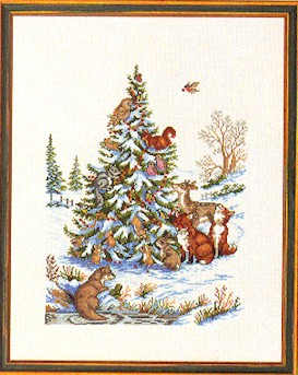 click here to view larger image of Animals By Tree (counted cross stitch kit)