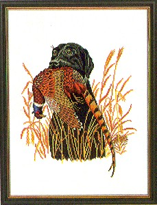 click here to view larger image of Black Lab With Pheasant (counted cross stitch kit)