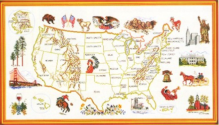 click here to view larger image of USA Map (counted cross stitch kit)