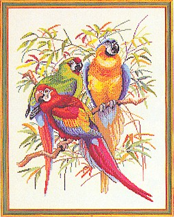 click here to view larger image of Three Parrots (counted cross stitch kit)