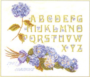 click here to view larger image of Sampler In Blue (counted cross stitch kit)