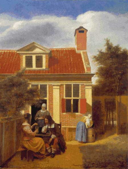 click here to view larger image of Three Women and a Man in a Courtyard (chart)