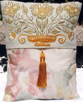 click here to view larger image of Golden Flowers Pillow  (chart)