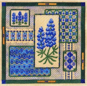 click here to view larger image of Bluebonnet Collage (counted canvas chart)