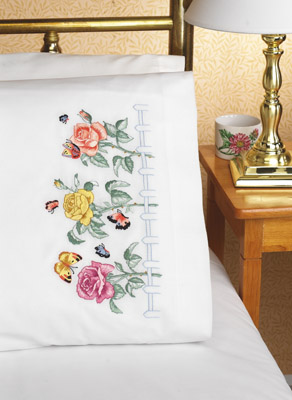 click here to view larger image of Rose Garden Pillowcase Pair (stamped cross stitch)