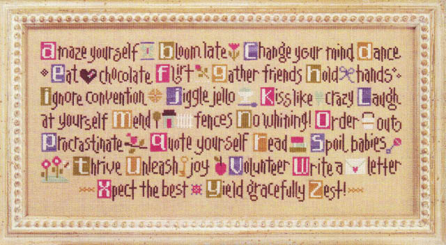 click here to view larger image of ABCs of Aging Artfully (Kit) (counted cross stitch kit)