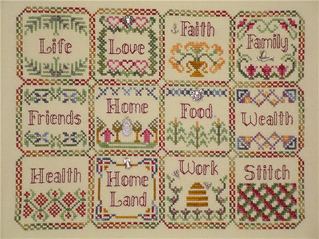 click here to view larger image of Blessings Sampler Quilt (charms included) (chart with charms/buttons)