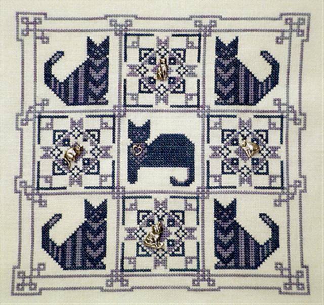 click here to view larger image of Monochromatic Kitty Quilt  (chart with charms/buttons)
