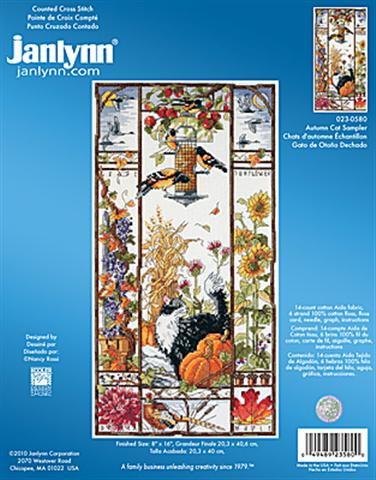 click here to view larger image of Autumn Cat Sampler (counted cross stitch kit)