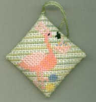 click here to view larger image of Flamingo with Easter Basket (hand painted canvas)