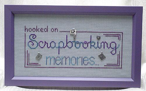 click here to view larger image of Hooked on Scrapbooking (charms included) (chart with charms/buttons)
