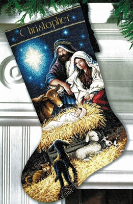 click here to view larger image of Holy Night Stocking (counted cross stitch kit)
