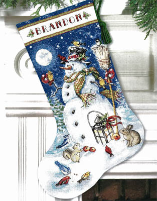 click here to view larger image of Snowman & Friends Stocking (counted cross stitch kit)