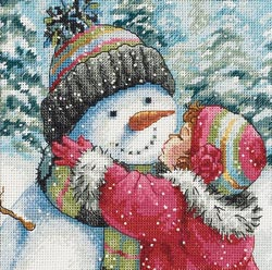 click here to view larger image of Kiss For Snowman, A (counted cross stitch kit)