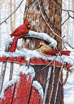 click here to view larger image of Cardinals on Sled (counted cross stitch kit)