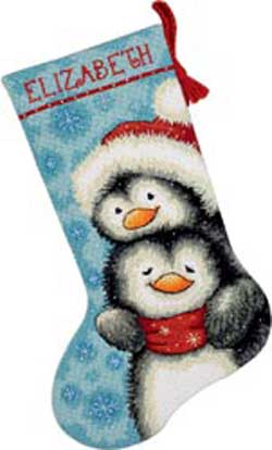 click here to view larger image of Hugging Penguins Stocking (needlepoint)