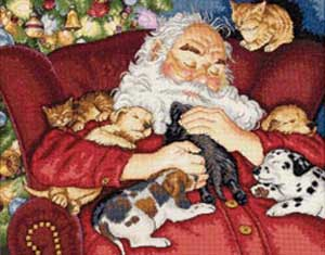click here to view larger image of Santas Nap (counted cross stitch kit)