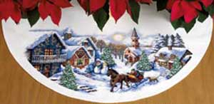 click here to view larger image of Sleigh Ride Tree Skirt (counted cross stitch kit)