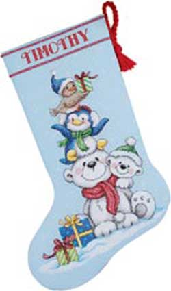 click here to view larger image of Stack of Critters Stocking (counted cross stitch kit)