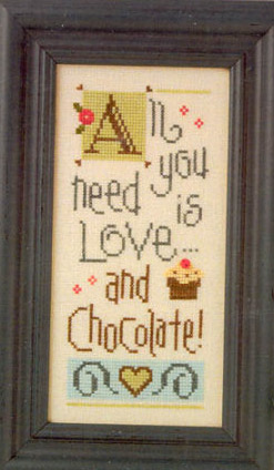 click here to view larger image of All You Need is Love and Chocolate (Boxer Kit) (counted cross stitch kit)