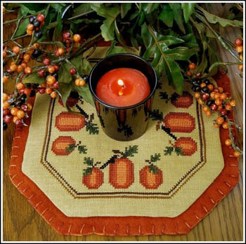 click here to view larger image of Little Candle Mats - Pumpkin Harvest (chart)