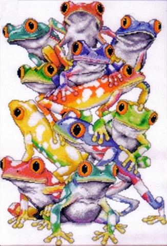 click here to view larger image of Frog Pile (counted cross stitch kit)