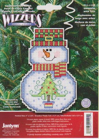 click here to view larger image of Snowman With Tree (counted cross stitch kit)